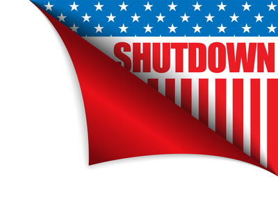 Vector - Shutdown Closed United States of America Page Corner